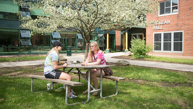 Picture of students outside residence hall