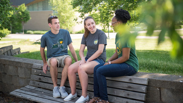 picture of students talking outside