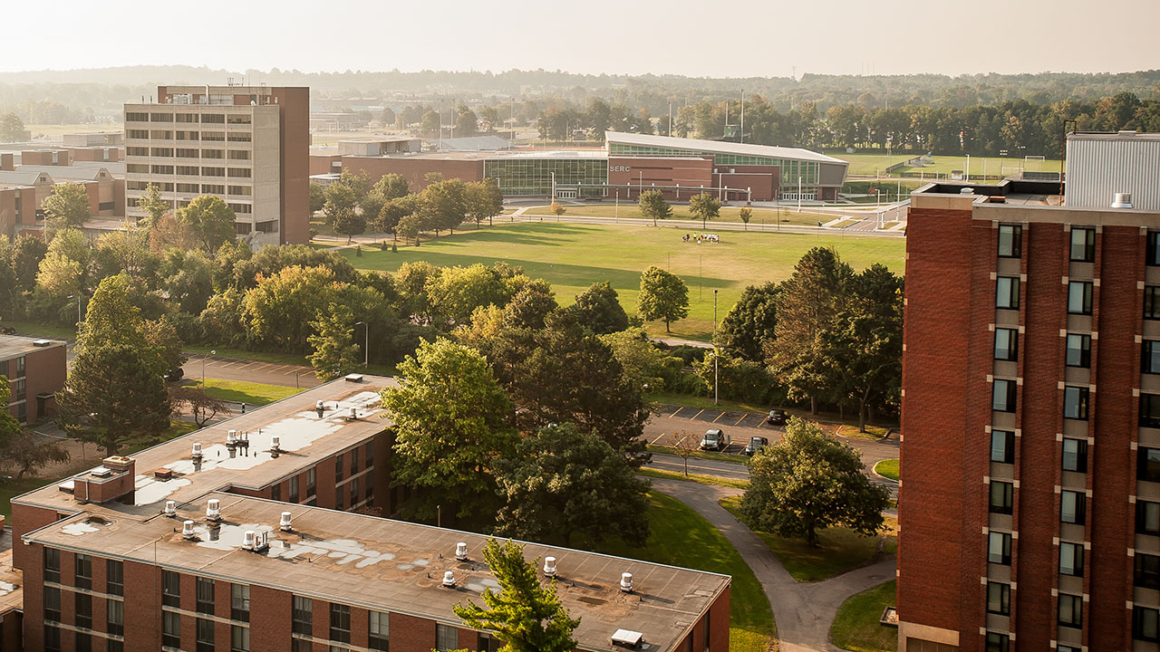Picture of the campus, aerial view.